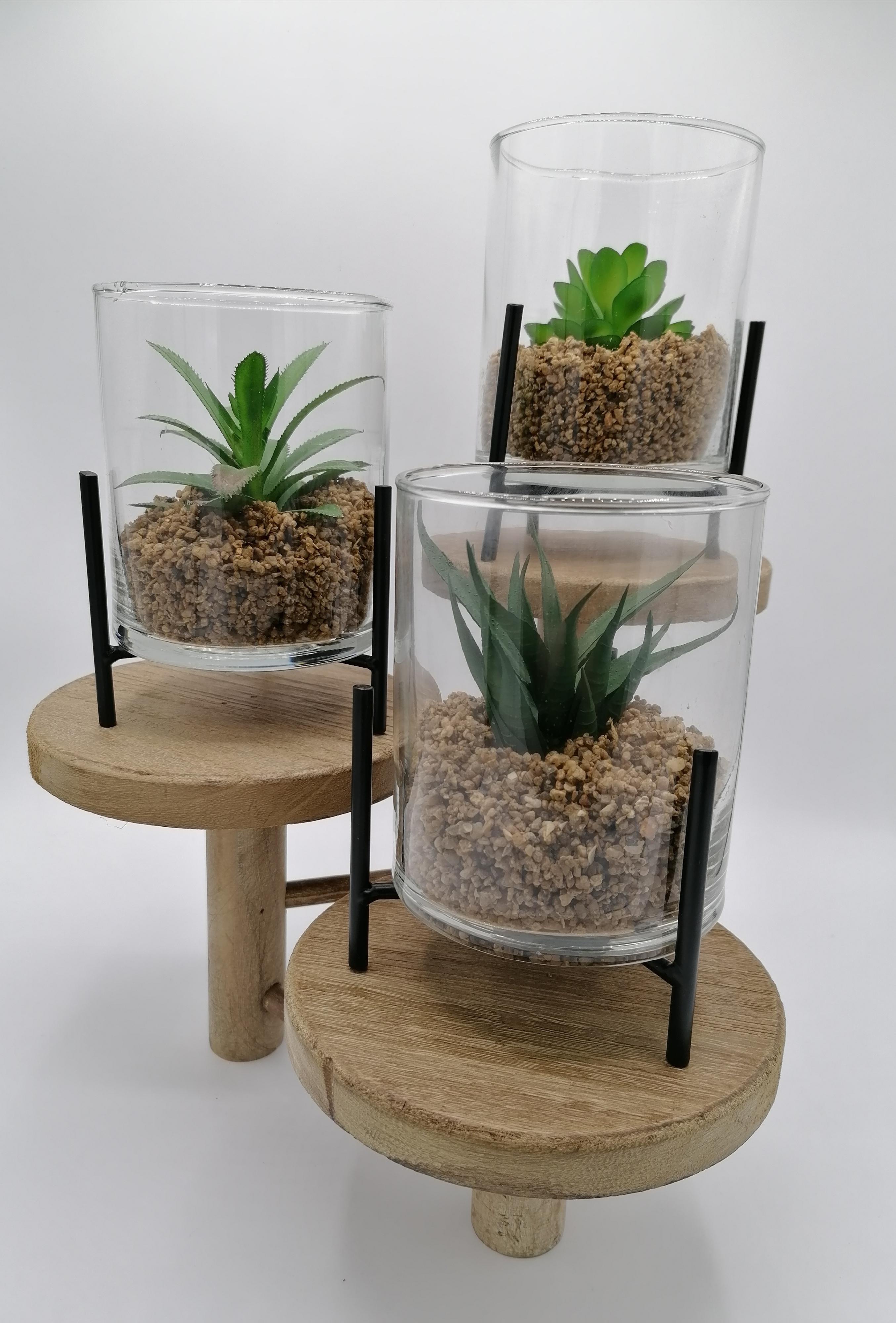 Metallgestell mit Kunstpflanze 3ér Set
